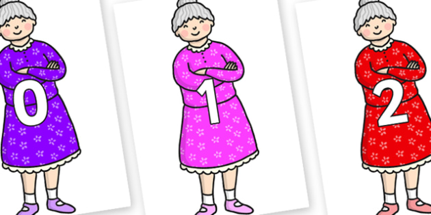 Numbers 0-50 on Enormous Turnip Old Woman - 0-50, foundation stage numeracy, Number recognition, Number flashcards, counting, number frieze, Display numbers, number posters