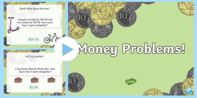 Money Problems Task Setter PowerPoint - australia, money, task