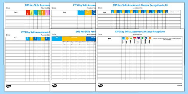 EYFS Key Skills Assessment Pack - eyfs, key skills, assessment
