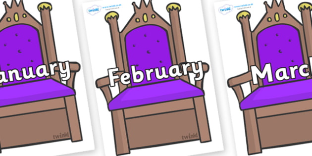Months of the Year on Thrones - Months of the Year, Months poster, Months display, display, poster, frieze, Months, month, January, February, March, April, May, June, July, August, September