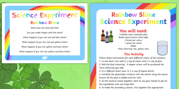 Rainbow Slime Science Experiment - St Patricks Day, Rainbow, Colours, rainbow slime, science, experiment