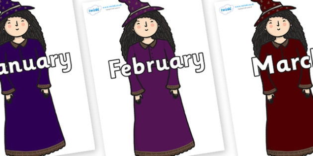 Months of the Year on Witch - Months of the Year, Months poster, Months display, display, poster, frieze, Months, month, January, February, March, April, May, June, July, August, September