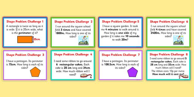 Shape Problems Challenge Cards - shape challenge cards, shape questions, maths challenge cards, maths shape challenge cards, 2d shape challenges, ks2 maths