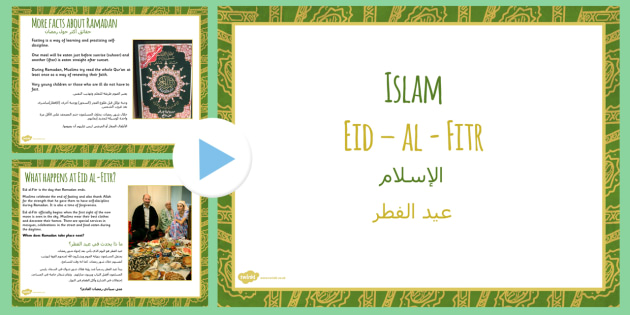 Eid al Fitr PowerPoint Arabic Translation - arabic, eid, eid al fitr, powerpoint, religion