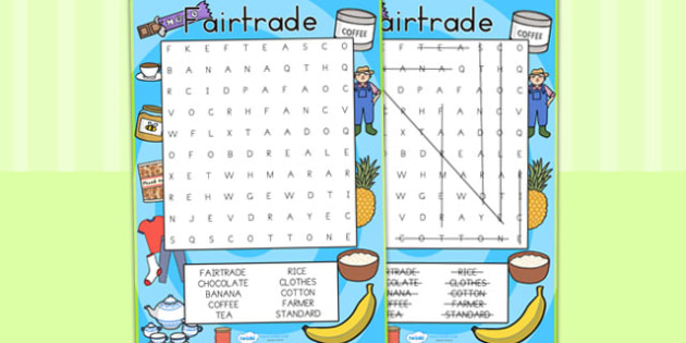 Fairtrade Fortnight Wordsearch Differentiated - fair trade, food