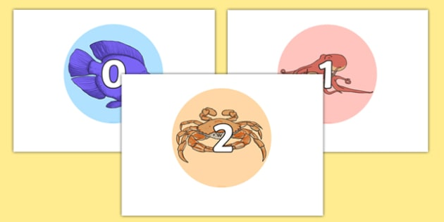 Numbers 0-30 On Sea Creatures - Foundation Numeracy, Number recognition, Number flashcards, 0-30, A4, display numbers, eyfs, ks1, counting, numeracy