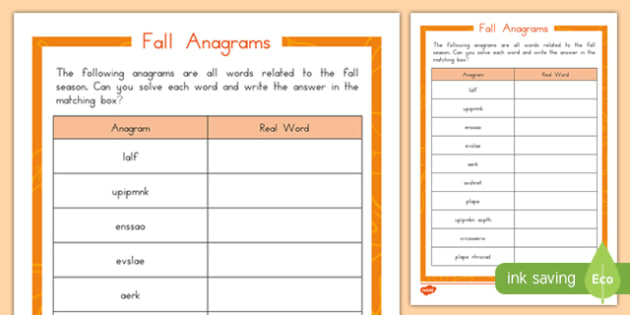 Fall Anagrams Activity Sheet, worksheet