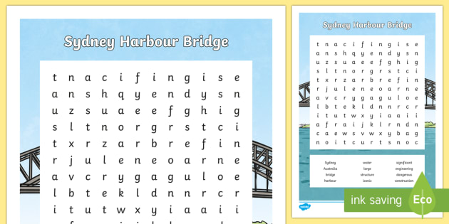Sydney Harbour Bridge Word Search-Australia