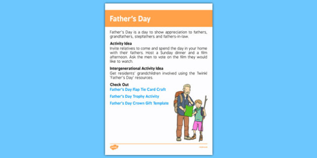 Elderly Care Calendar Planning June 2016 Father's Day - Elderly Care, Calendar Planning, Care Homes, Activity Co-ordinators, Support, June 2016