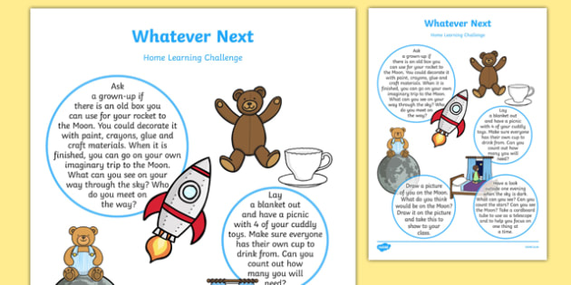 EYFS Home Learning Challenge Sheet Nursery FS1 to Support Teaching on Whatever Next!