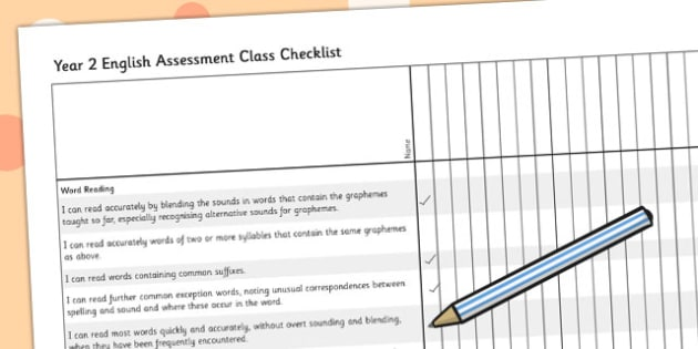 2014 Curriculum Year 2 English Assessment Class Checklist - target