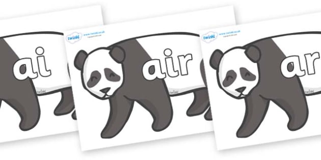 Phase 3 Phonemes on Pandas - Phonemes, phoneme, Phase 3, Phase three, Foundation, Literacy, Letters and Sounds, DfES, display