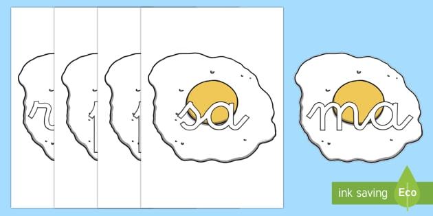Huevos fritos tarjetas de sílabas - lecto, leer, primeros sonidos, comida,Spanish