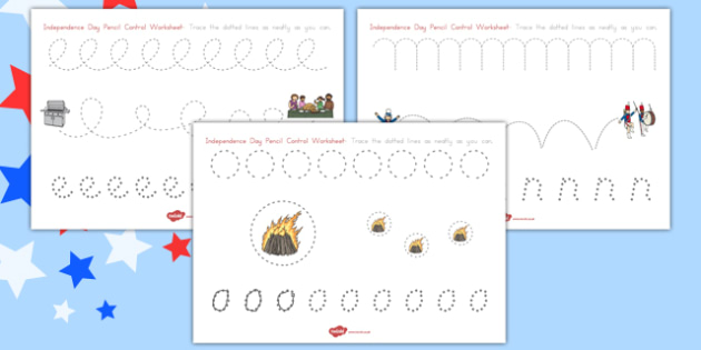 Independence Day Pencil Control Worksheets - independence day