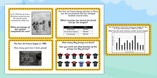 Tour de France KS2 Maths Challenge Cards - numeracy, le tour