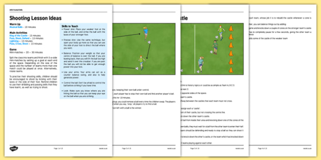 UKS2 Football Skills 3 Shooting Lesson Pack - football, PE, sport, exercise, KS2, UKS2, Key Stage 2, year 5, year 6, skills, physical education, ball skills, team sports