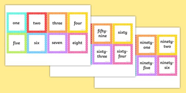 Number Words 1-100 Square Cards - number words, 1-100, square, cards