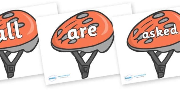 Tricky Words on Bike Helmets - Tricky words, DfES Letters and Sounds, Letters and sounds, display, words