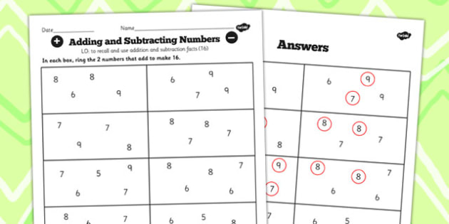 Number Facts to 20 Find Pairs to 16 Worksheet - number, facts