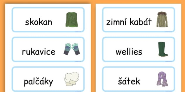 Winter Clothes Word Cards - winter clothes, word cards, winter, clothes - Czech