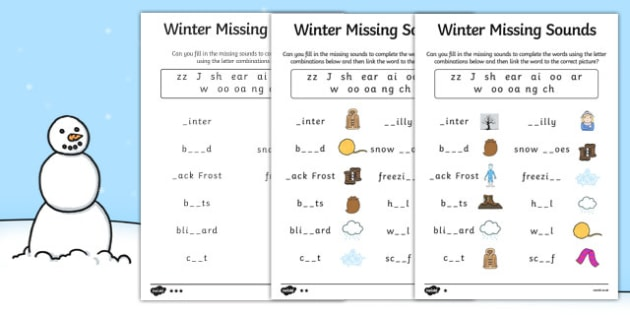 Winter Missing Sounds Worksheet - winter, phase 3, sounds