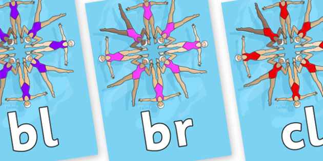 Initial Letter Blends on Synchronised Swimming - Initial Letters, initial letter, letter blend, letter blends, consonant, consonants, digraph, trigraph, literacy, alphabet, letters, foundation stage literacy