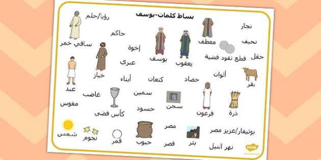 بساط كلمات قصة يوسف - قصة يوسف، مفردات قصة يوسف، موارد تعليمية