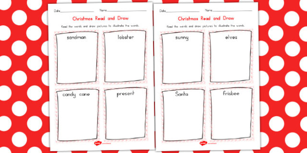 Christmas Read and Draw Worksheet - australia, christmas, read