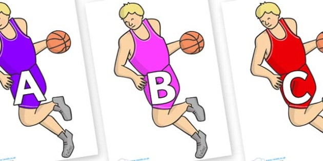A-Z Alphabet on Basketball Player - A-Z, A4, display, Alphabet frieze, Display letters, Letter posters, A-Z letters, Alphabet flashcards