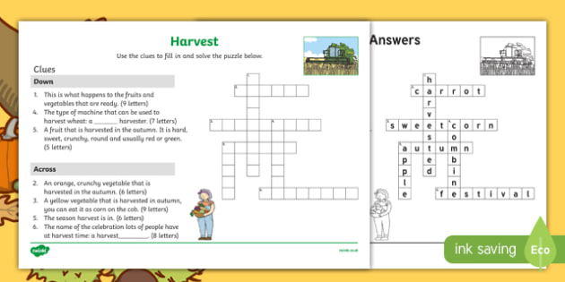 KS1 Harvest Crossword Activity Sheet, worksheet