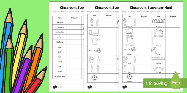 Back to School Classroom Maths Scavenger Hunt - Back to School, scavenger hunt, back to school game, maths game, classroom counting, school equipmen