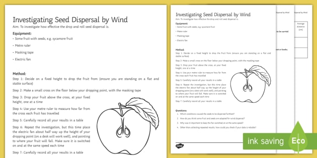 Seed Dispersal by Wind Investigation Instruction Sheet Print-Out - Investigation Help Sheet, science practical, method, instructions, seed dispersal, plant reproductio