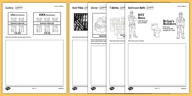 Budget at Home: Best Buys Activity Sheet Pack GSCE Grades 3-4 - KS3, KS4, GCSE, Maths, Finance, Budget, Home, worksheet
