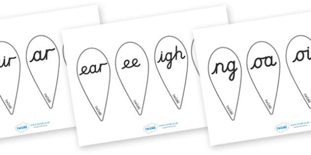Phase 3 Letter Fans (Cursive) - Phoneme fans, Alphabet  Fans, A-Z letters, Alphabet flashcards, foundation stage literacy, letters and sounds, DfES, KS1