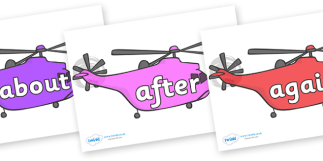KS1 Keywords on Helicopters - KS1, CLL, Communication language and literacy, Display, Key words, high frequency words, foundation stage literacy, DfES Letters and Sounds, Letters and Sounds, spelling