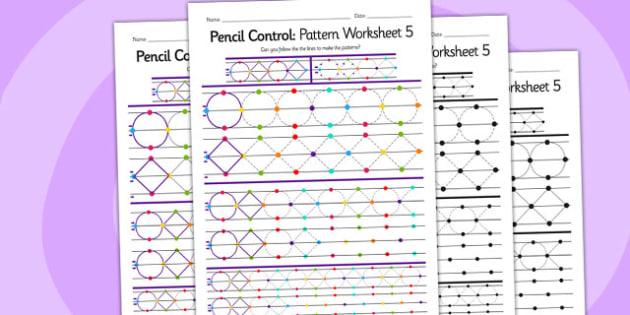 Pencil Control Pattern Worksheet 5 - fine motor skills, pattern