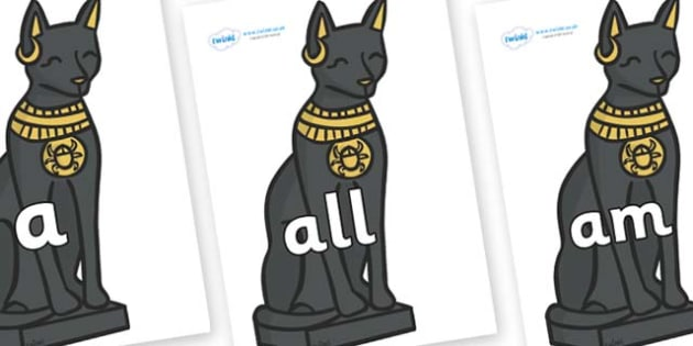 Foundation Stage 2 Keywords on Egyptian Cats - FS2, CLL, keywords, Communication language and literacy,  Display, Key words, high frequency words, foundation stage literacy, DfES Letters and Sounds, Letters and Sounds, spelling