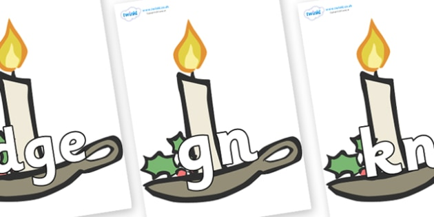 Silent Letters on Christmas Candles - Silent Letters, silent letter, letter blend, consonant, consonants, digraph, trigraph, A-Z letters, literacy, alphabet, letters, alternative sounds