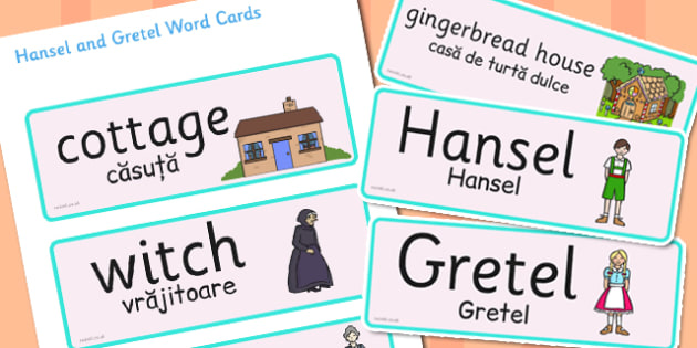 Hansel and Gretel Word Cards Romanian Translation - romanian