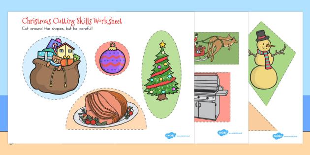 Christmas Themed Cutting Skills Worksheet - australia, christmas