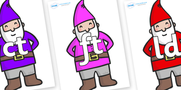 Final Letter Blends on Gnomes - Final Letters, final letter, letter blend, letter blends, consonant, consonants, digraph, trigraph, literacy, alphabet, letters, foundation stage literacy