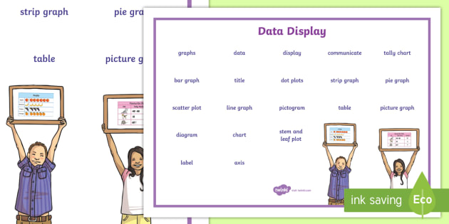 Data Display Word Mat - NZ Statistics (Back to School), graphs, charts, plotting, key maths words, maths words, technical ma
