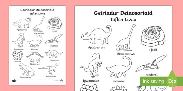 Taflen Liwio Geiriadur Deinosoriaid - deinosoriaid, lliwio, geirfa,Welsh