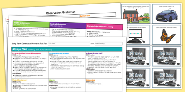 ICT Area Editable Continuous Provision Plan and Challenge Cards Pack Nursery FS1