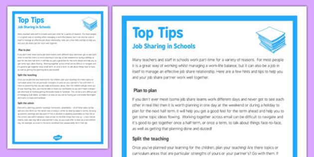 Top Tips for Job Sharing in Schools - top tips, job, sharing, schools