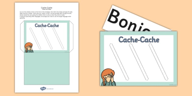 French Year 3 Language Practice Hide and Seek Envelope - french
