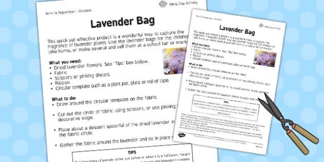 Lavender Bag Worksheet - lavender bag, worksheet, lavender, bag
