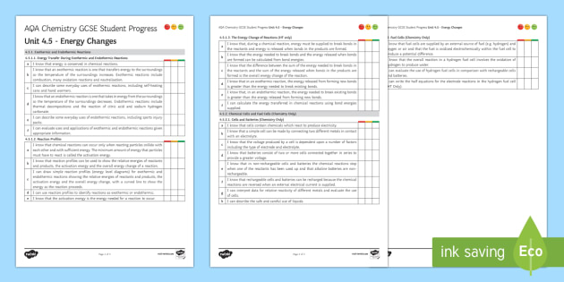 AQA Chemistry Unit 4.5 Energy Changes Student Progress Sheet - Student Progress Sheets, AQA, RAG sheet, Unit 4.5 Energy Changes