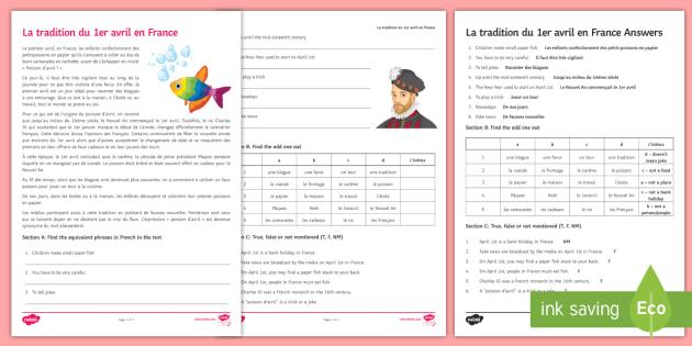 April Fools' Day in France Activity Sheet French - Poisson d'avril, April Fools Day, April Fool's Day, 1st April, 1er avril, premier avril, joke, bla