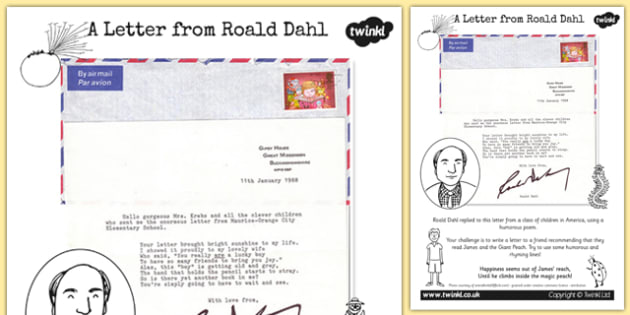 Roald Dahl Letter Writing Activity to Support Teaching on James and the Giant Peach